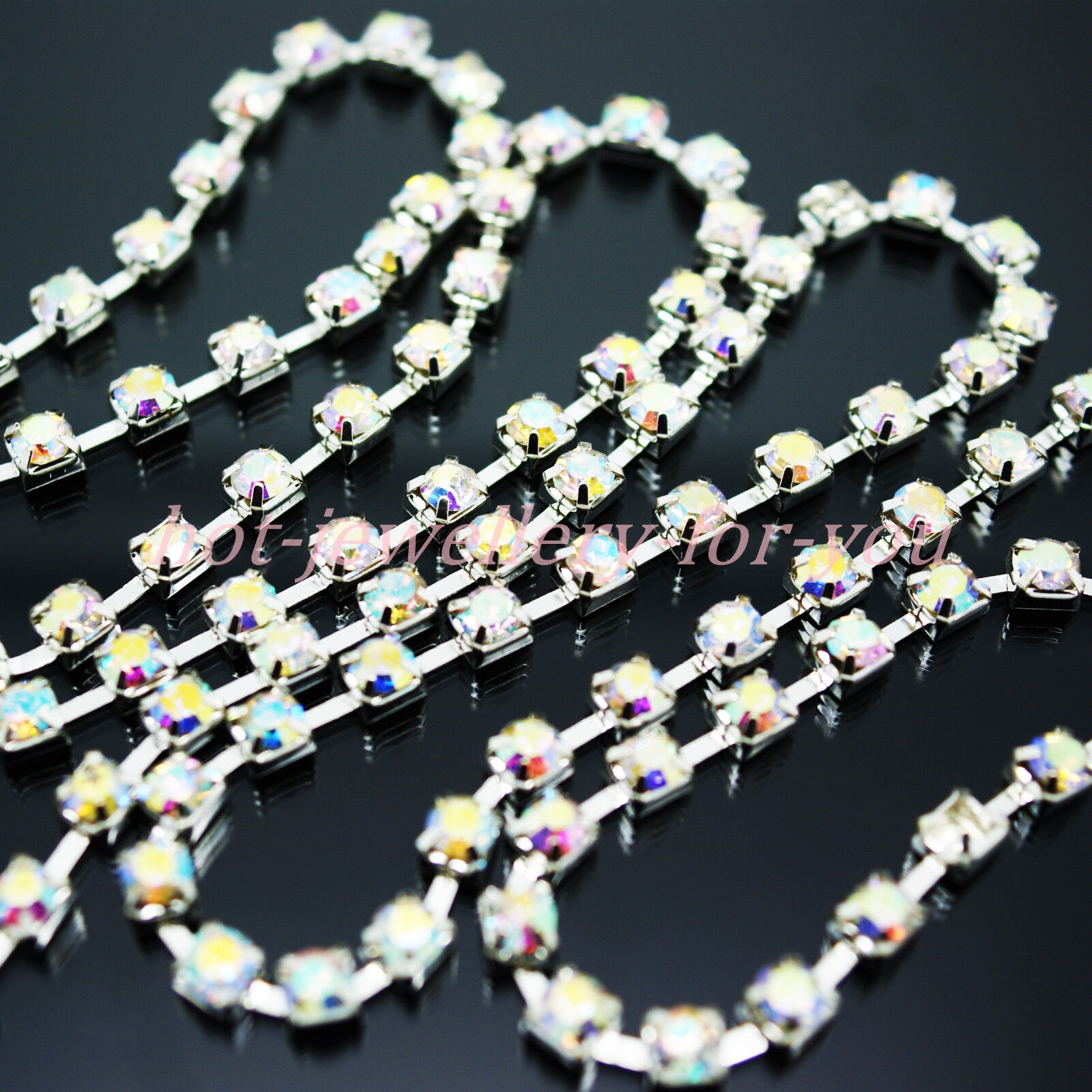 Silver Chain RED Rhinestones Diamond Glass Gems Sewing Sew On Cup 1m to 10metres