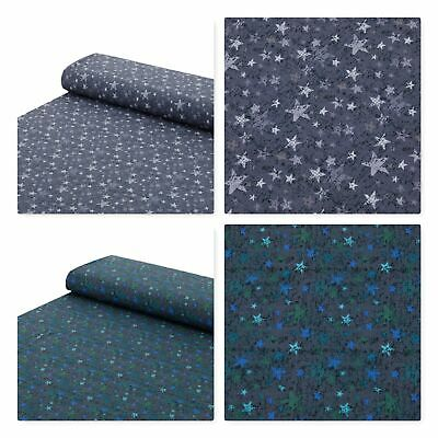 Baumwoll Jersey Stoff Sterne grau blau Meterware ab 25 x 150 cm Nähen