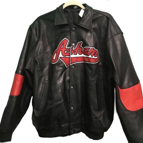 Vintage Asham Curling Leather Bomber Jacket Embroidered size medium