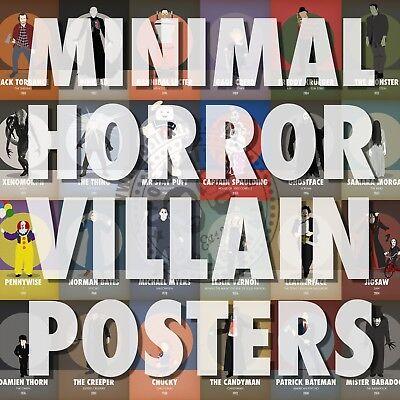HORROR VILLAINS Minimalist Movie Poster Print Posteritty Minimal Halloween Art (Minimal Halloween)