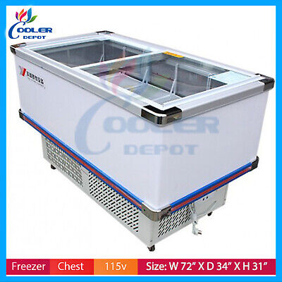 72 Commercial Supermarket Freezer Table Display Sea Food Cooler Fish Meat Sf72