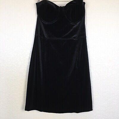 H&M Black Velvet Strapless Cocktail Holiday Dress Size 12