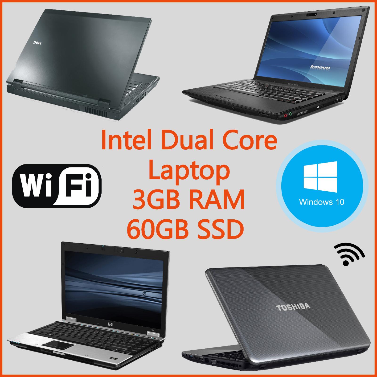 Laptop Windows - CHEAP FAST WINDOWS 10 LAPTOP INTEL DUAL CORE 60GB SSD 3GB RAM