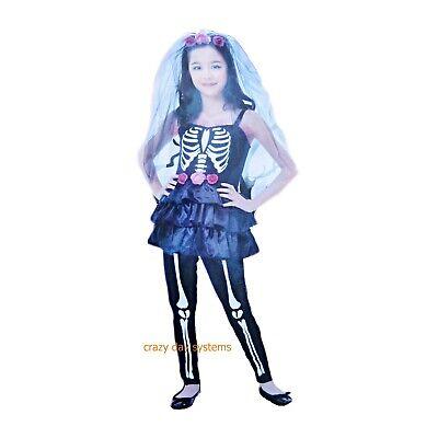 Girls Skeleton Zombie Bride Halloween Costume Veil Teens Wedding Sz 8-10 NWT - Zombie Bride Costume For Girls