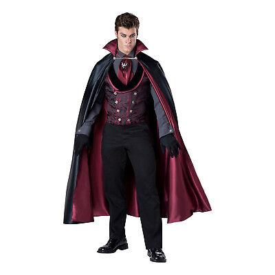Mens Victorian Vampire Costume (Mens Midnight Count Victorian Vampire Halloween Cosplay Costume Cape Vest)