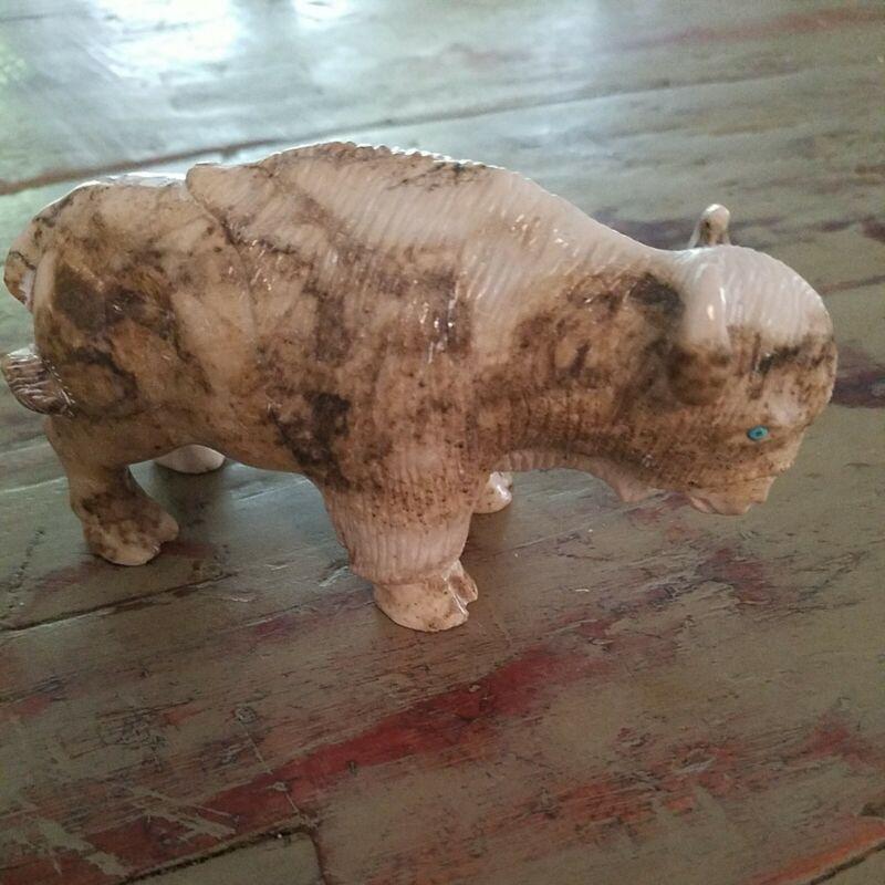 Native Navajo Carved Stone Buffalo, Herbert Davis