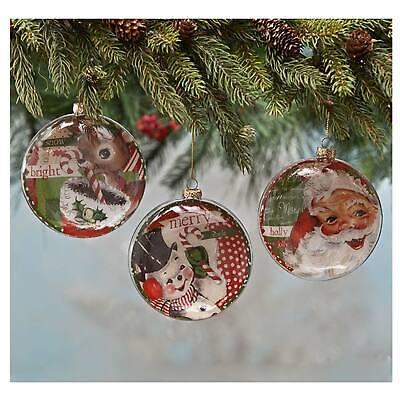 Set/2 Bethany Lowe Retro Glass Santa Deer Tree Discs Christmas Decor Ornaments