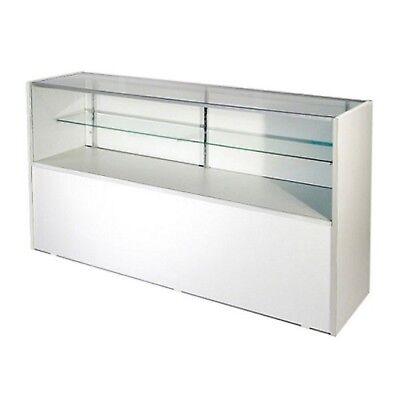 Retail Glass Display Case Half Vision White 5 Showcase