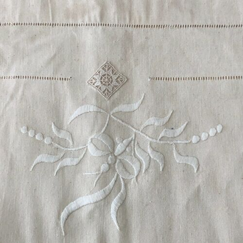 Unused French Antique Linen Metis Sheet 103x76 Raised Hand-Embroidery Ladderwork