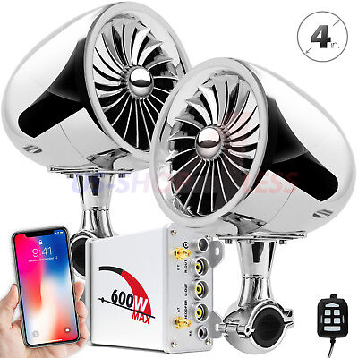600W Amplifier Bluetooth Motorcycle Stereo Speakers Audio Music System Aux Honda