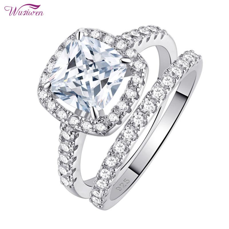 Wuziwen Wedding Engagement Ring Set For Women Cushion Sterling Silver Aaaa Cz