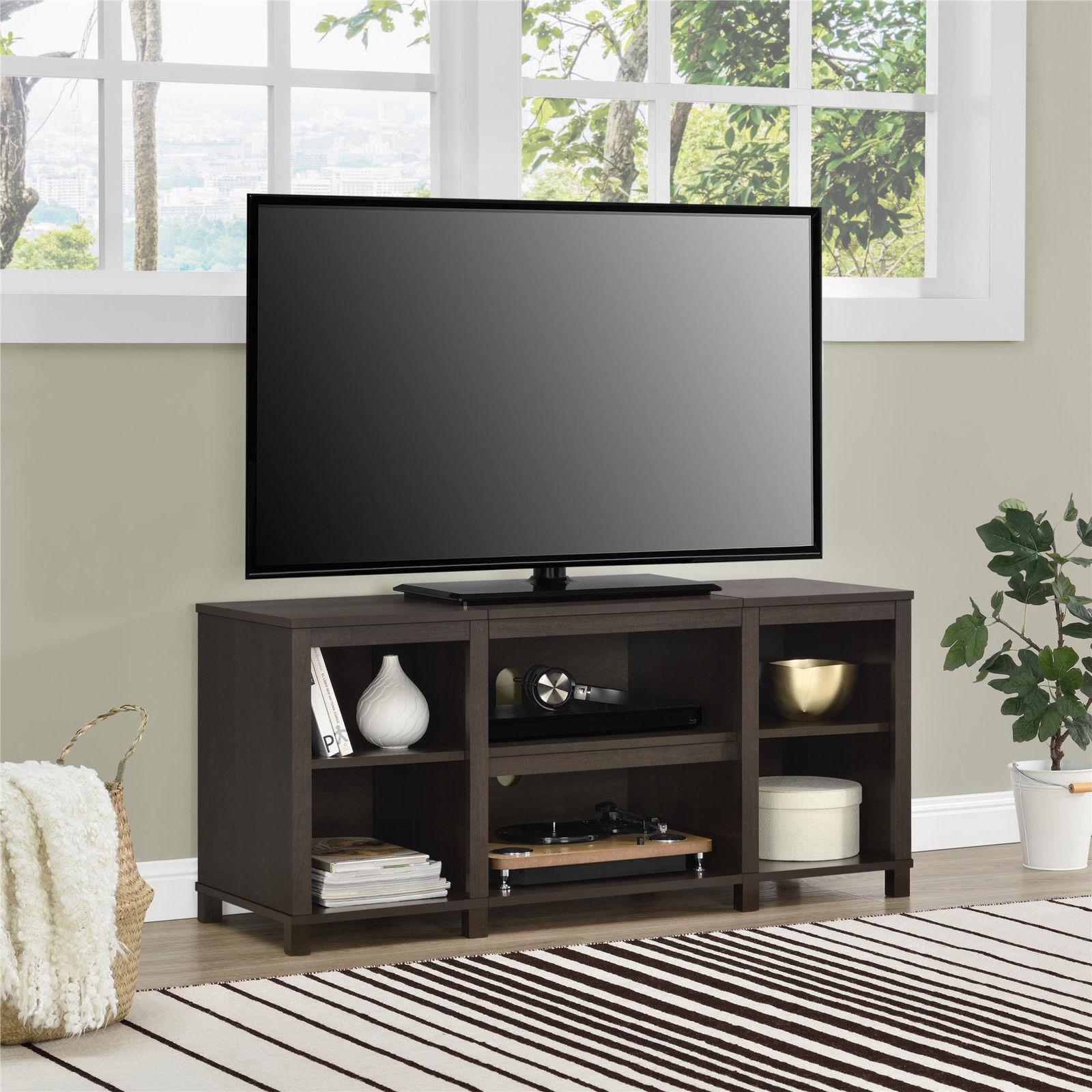 Tv Stand For 50 Inch Tv Media Center Storage Shelves Wood Fl