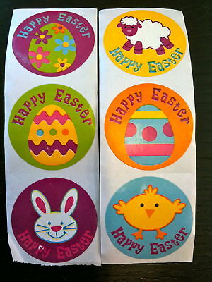 100 Happy Spring  Easter Egg Bunny Chick Stickers Party Favors Teacher Supply #5