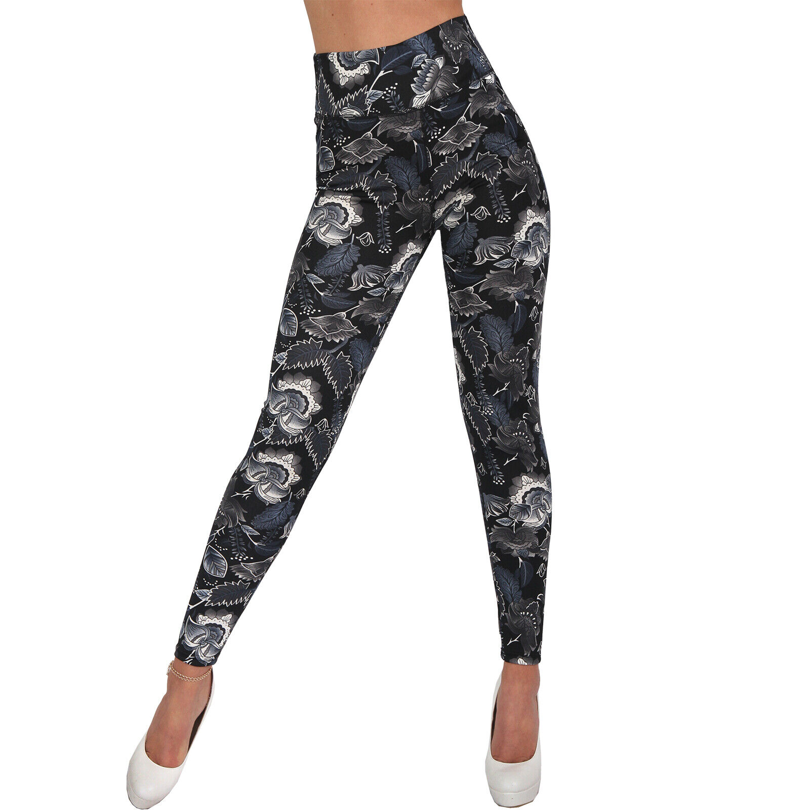 Yoga High Waist Sport Leggings Blumen Blätter Trainingshose Fitness Hose Jogging