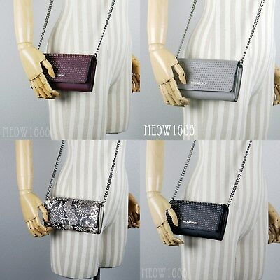 - New Michael Kors Stud Crossbody Chain Wallet Clutch Black Grey Plum Snake Print