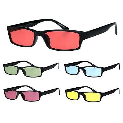 Mens Hippie Pimp Color Lens Narrow Rectangular Black Frame (Mens Hipster Sunglasses)