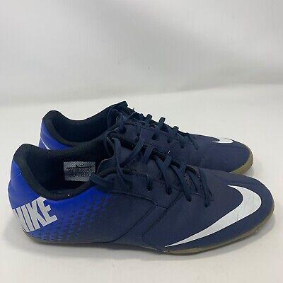 NIKE BOMBA MENS Indoor Soccer Shoes Black Blue 826485-414 Size 10.5