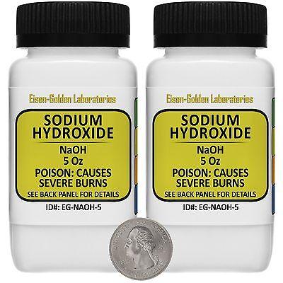 Sodium Hydroxide Naoh 99 Acs Grade Powder 10 Oz In Two Easy-pour Bottles Usa