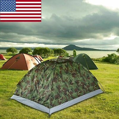 Portable Camping Hiking Tent Camouflage Lightweight Double Outdoor 2 Person F7C1