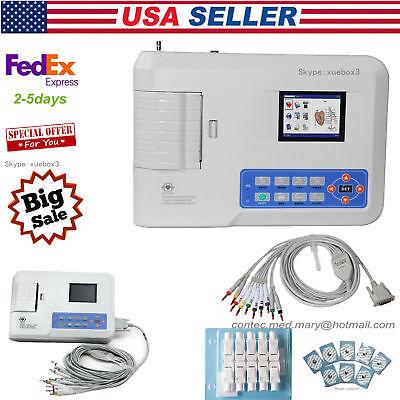 New Pc Software Digital 3 Channel 12-lead Ecgekg Machine Electrocardiograph Usa