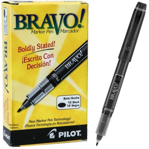 Pilot Bravo 11034 Marker Pen, Black Ink, 1.0mm Bold Point, Box of 12 Markers