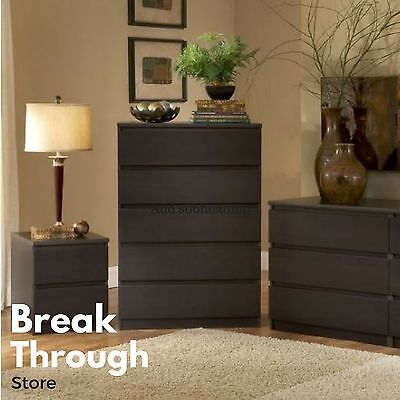 كومودينو جديد Bedroom Storage Dresser Chest 5 Drawer Modern Wood Organizer Furniture Espresso