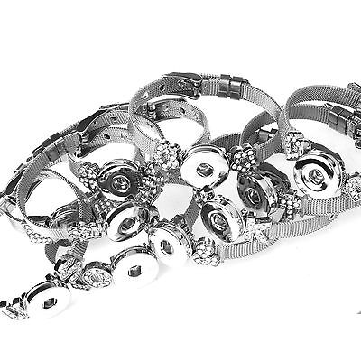 Ginger Snap Charms Bracelets Stainless Steel Band Bracelets Fit 18mm Snap Button