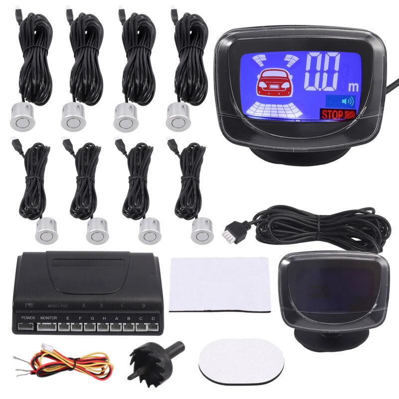 Front Rear Car Parking Sensor Kit View Reverse Alarm Backup System LCD Display