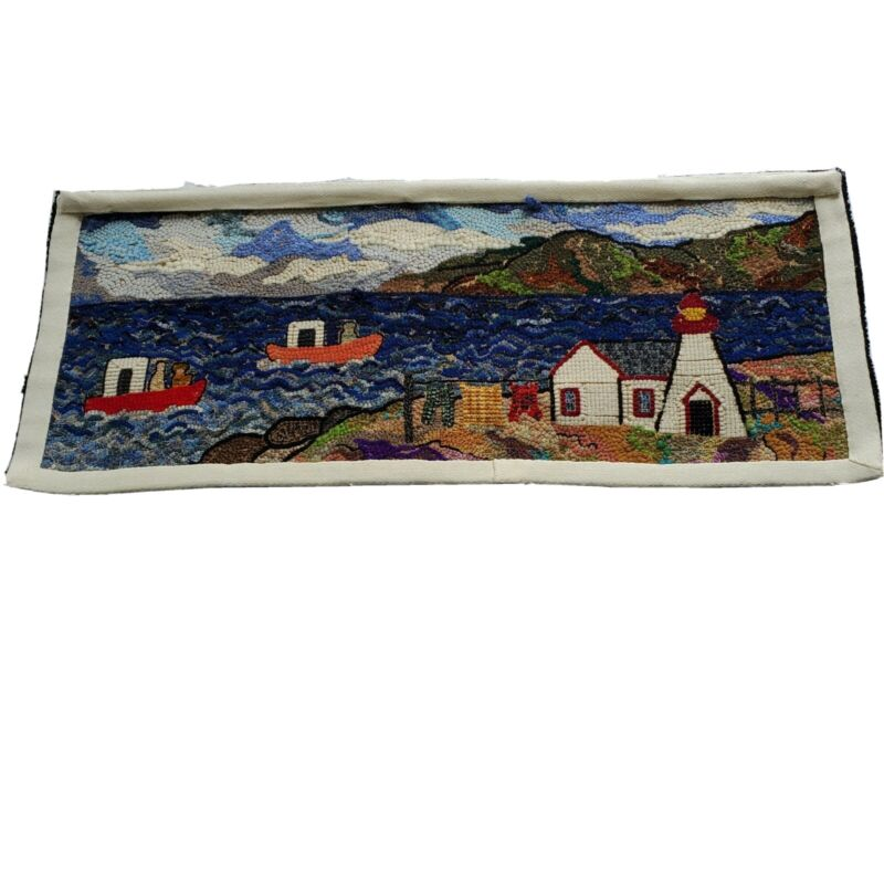 Vintage Hand Hooked Deanne Fitzpatrick Rug Lighthouse Nautical Landscape Scene