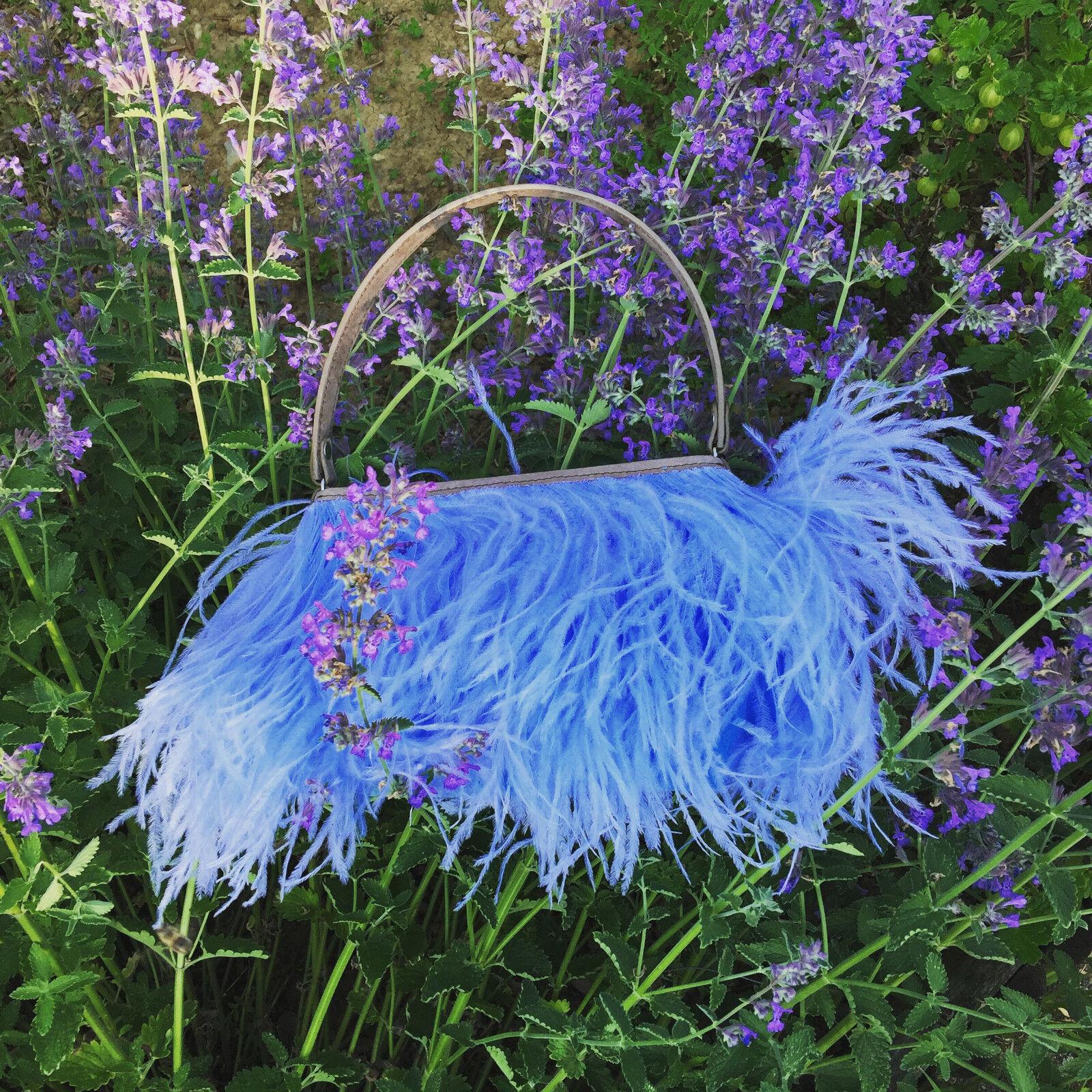 Rarity Bags,Handtasche,Federbag,Tasche mit Straussenfedern,Federn,Ostrich blau