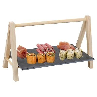 Natural Slate Food Stand Board Canapes Cheese Serving Display Platter Cakes Rack ()