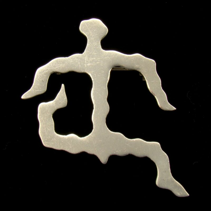 Figural Brooch Pendant Sterling Silver Jittery Limber Abstract Person Signed GA
