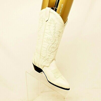 Acme White Leather Cowboy Western Boots Womens Size 5 M Style 10716