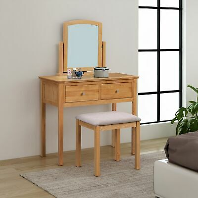 Light Oak Dressing Table Set with Stool and Swivel Mirror | Makeup Vanity Desk