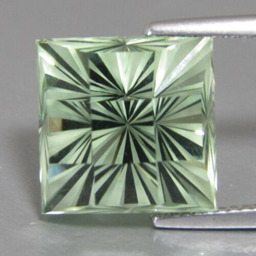 13.78Cts Natural Gorgeous Green Amethyst(Prasiolite)  Fashion Square Checker Cut