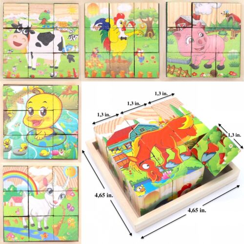Wooden Cube Blocks For Kids Toddlers Educational Toy Puzzle - Farm Animals