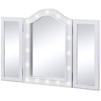BCP Lighted Tabletop Tri-Fold Vanity Mirror w/ 16 LED Lights, Velvet-Lined Back