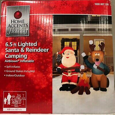 Inflatable Santa And Reindeer (NIB 6.5 foot Lighted Inflatable Santa and Reindeer Sitting At)
