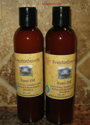 EMU OIL 8 OZ PURE NATURAL 100% Pure AUSSIE 2 BOTTLES ECZEMA PSORIASIS PAIN SKIN