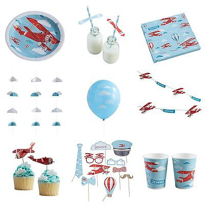 Party Planen (Vintage Red Plane Party Range - Plates, Cups, Napkins, Bunting & Birthday Bundle)