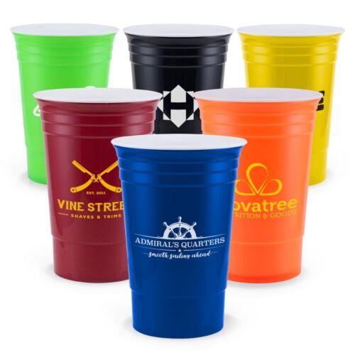100 Custom USA Made BPA Free Bold 16 oz Double Wall Cup Printed w/ Logo / Text