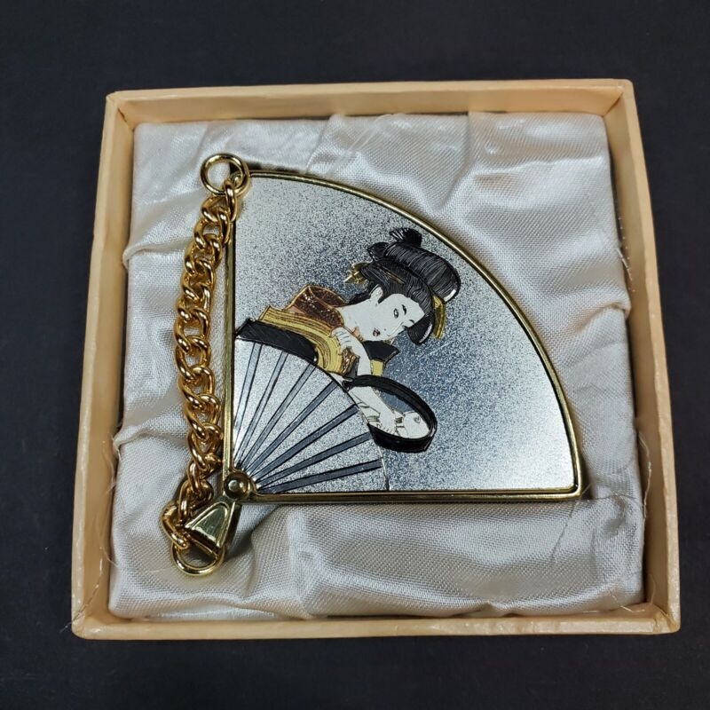 Vintage YKK Japanese Fan Compact and Picture Frame W/ Chain