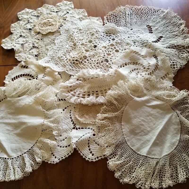 Lot of 12 Vintage Hand Crochet Doilies Table Mats White Natural Tea Party Farm