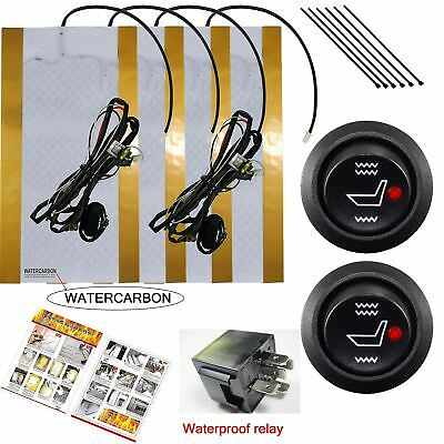 Water Carbon 12v Premium Heated Seat Kits For Two Seats Universal Electronic...
