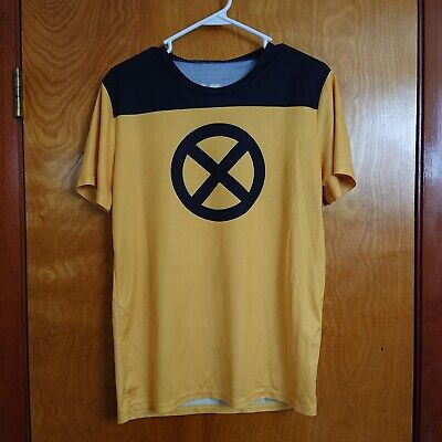 Mens Deadpool Yellow X Men Training Jersey Cosplay Halloween Costume Shirt Sz S