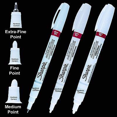 3 Ea White Sharpie Oil Based Paint Markers 35531 X-fine 35543 Fine 35558 Med