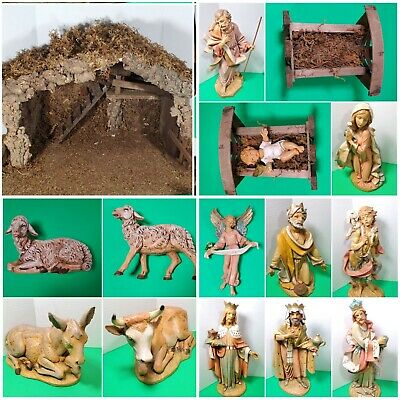 Vintage 1996/1997 Large Fontanini Italy Nativity Set 14 Pieces & Manger w/ Light