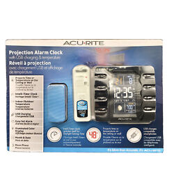 Acurite Projection Alarm Clock With Indoor And Outdoor Temperature And USB 13020