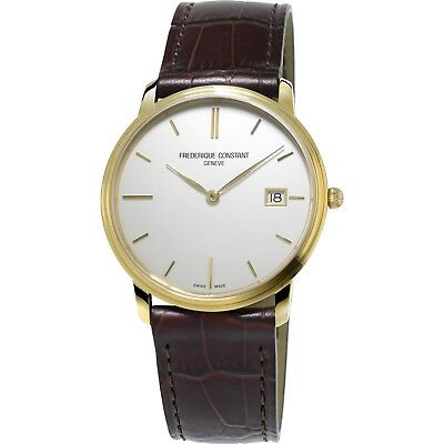 Frederique Constant Slimeline Men's Quartz Gold Tone 37mm Watch FC-220NW4S5