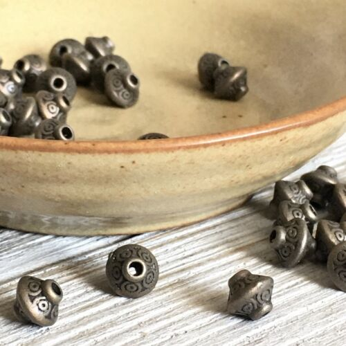 40pc Antique Bronze - Spacer Beads, Saucer - $2.25